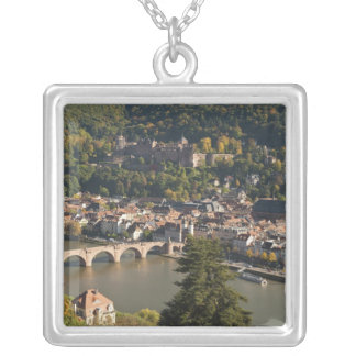 View of the Alte Brucke or Old Bridge Square Pendant Necklace
