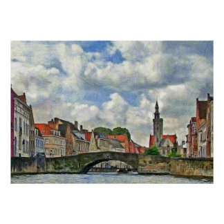 View of the Budevine Canal in Bruges Poster