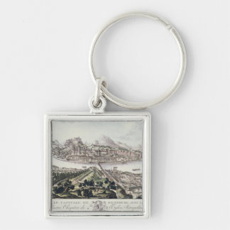 View of the Capital City and Fortress of Salzburg, Silver-Colored Square Key Ring