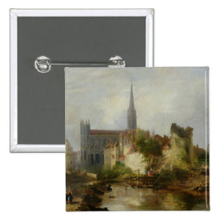 View of the Church of St. Peter, Caen, 1841 15 Cm Square Badge