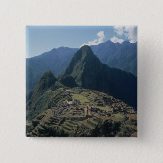 View of the citadel at Machu Picchu 15 Cm Square Badge