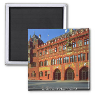 View of the City Hall of Basel, Switzerland Square Magnet