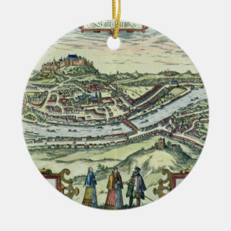 View of the city of Salzburg on the banks of the r Ceramic Ornament