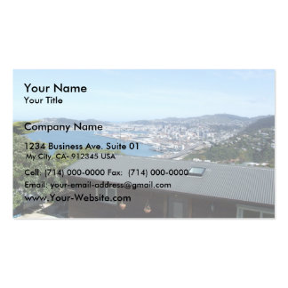 View Of The City With Mountains In Sun Shine Business Card Templates