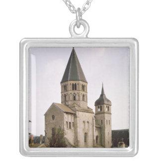 View of the Clocher de l'Eau Benite Silver Plated Necklace
