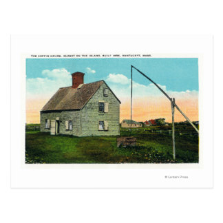 View of the Coffin House, Oldest on the Island Postcard
