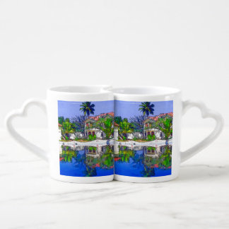 View of the cottages and lagoon water in Alleppey, Lovers Mug Set