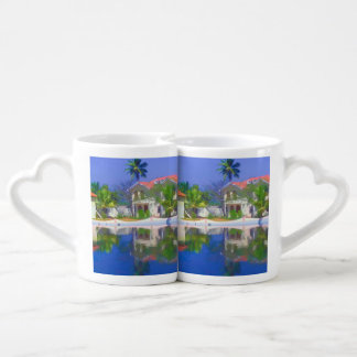 View of the cottages and lagoon water in Alleppey Lovers Mug Sets