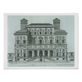 View of the facade of Villa Borghese, Rome (engrav Poster