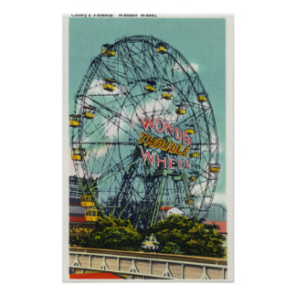 View of the Famous Wonder Ferris Wheel Poster