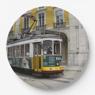 View of the famous yellow tramway at Lisbon Paper Plate