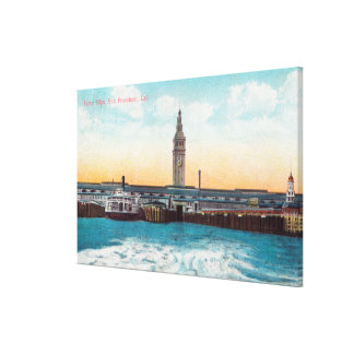View of the Ferry Slips and Tower Stretched Canvas Prints