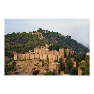 View of the fortress of Alcazaba in Malaga Poster