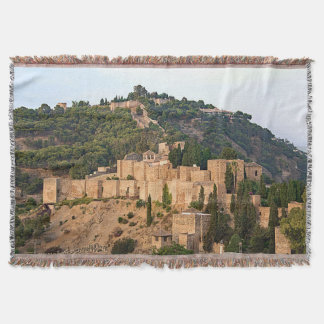 View of the fortress of Alcazaba in Malaga Throw Blanket