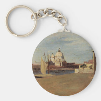 View of the Grand Canal, Venice, from the Riva Basic Round Button Key Ring