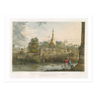 View of the Great Dagon Pagoda at Rangoon from the Postcard