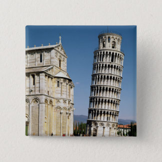 View of the Leaning Tower 15 Cm Square Badge