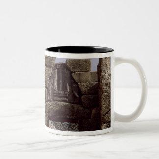 View of the Lion Gateway Two-Tone Coffee Mug