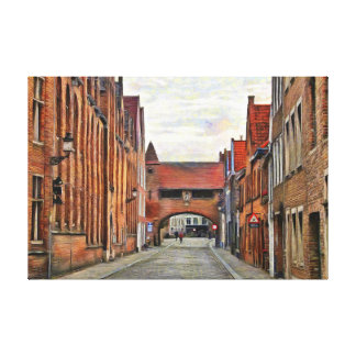 View of the medieval street in Bruges. Canvas Print