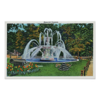 View of the Memorial Fountain, Vassar College Poster