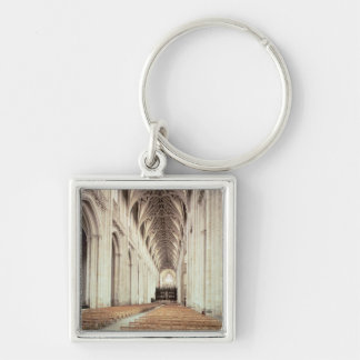 View of the nave, remodelled by William of Silver-Colored Square Key Ring