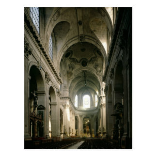 View of the nave towards the choir, built postcard