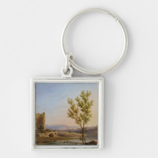 View of the Outskirts of Rome Silver-Colored Square Key Ring