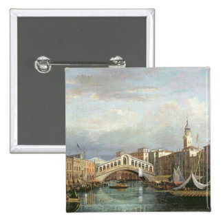 View of the Rialto Bridge in Venice 15 Cm Square Badge
