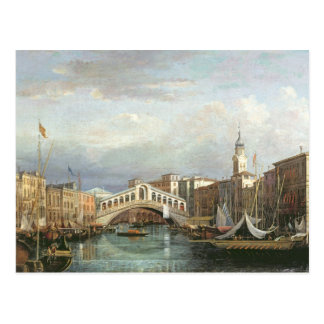 View of the Rialto Bridge in Venice Postcard