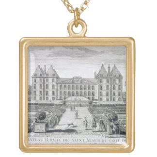 View of the Royal Chateau of Saint Maur from the g Gold Plated Necklace