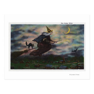 View of the Salem Witch on her Broom Postcard