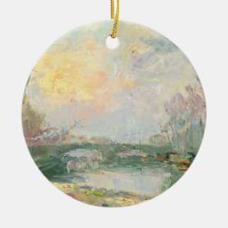 View of the Seine Paris oil on canvas Christmas Tree Ornament