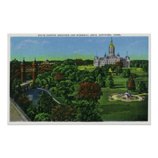 View of the State Capitol Grounds, Memorial Arch Poster