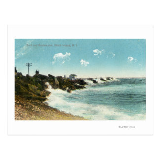 View of the Surf and Breakwater Postcard