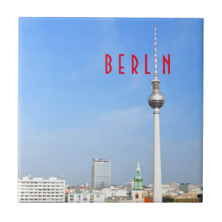 View of the Television Tower in Berlin, Germany Small Square Tile
