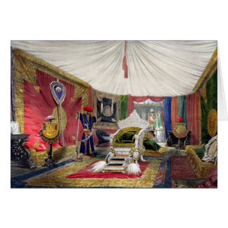 View of the tented room and ivory carved throne, i card