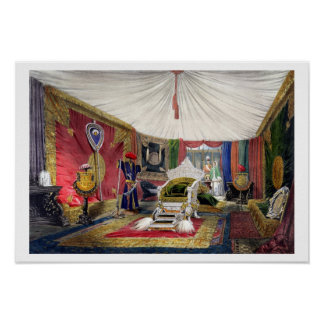 View of the tented room and ivory carved throne, i poster