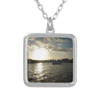 View of the Thames at sunset Custom Necklace