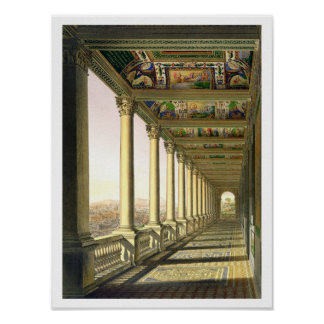 View of the third floor Loggia at the Vatican, wit Poster