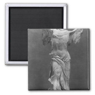 View of the Victory Samothrace in Louvre museum Square Magnet