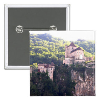 View of the village and the church (photo) 2 15 cm square badge