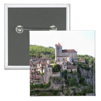 View of the village and the church (photo) 3 15 cm square badge