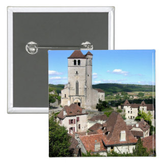 View of the village and the church (photo) 15 cm square badge