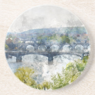 View of the Vltava River and the bridges, Prague, Coaster