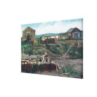 View of Townspeople Around Cut WoodNulato, AK Stretched Canvas Prints