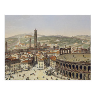 View of Verona, engraved by L. Cherbuin (colour en Postcard