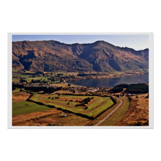 View Of Wanaka From Mt. Iron Poster
