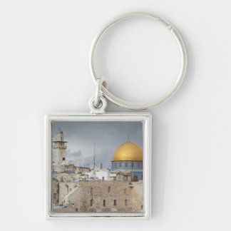 View of Western Wall Plaza, late afternoon 2 Silver-Colored Square Key Ring