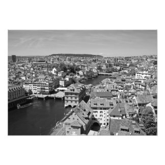 View of Zurich from the tower of the Grossmunster. Photo Print