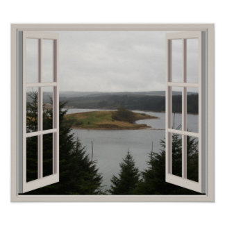 View Through A Window To A Lake And Trees Poster